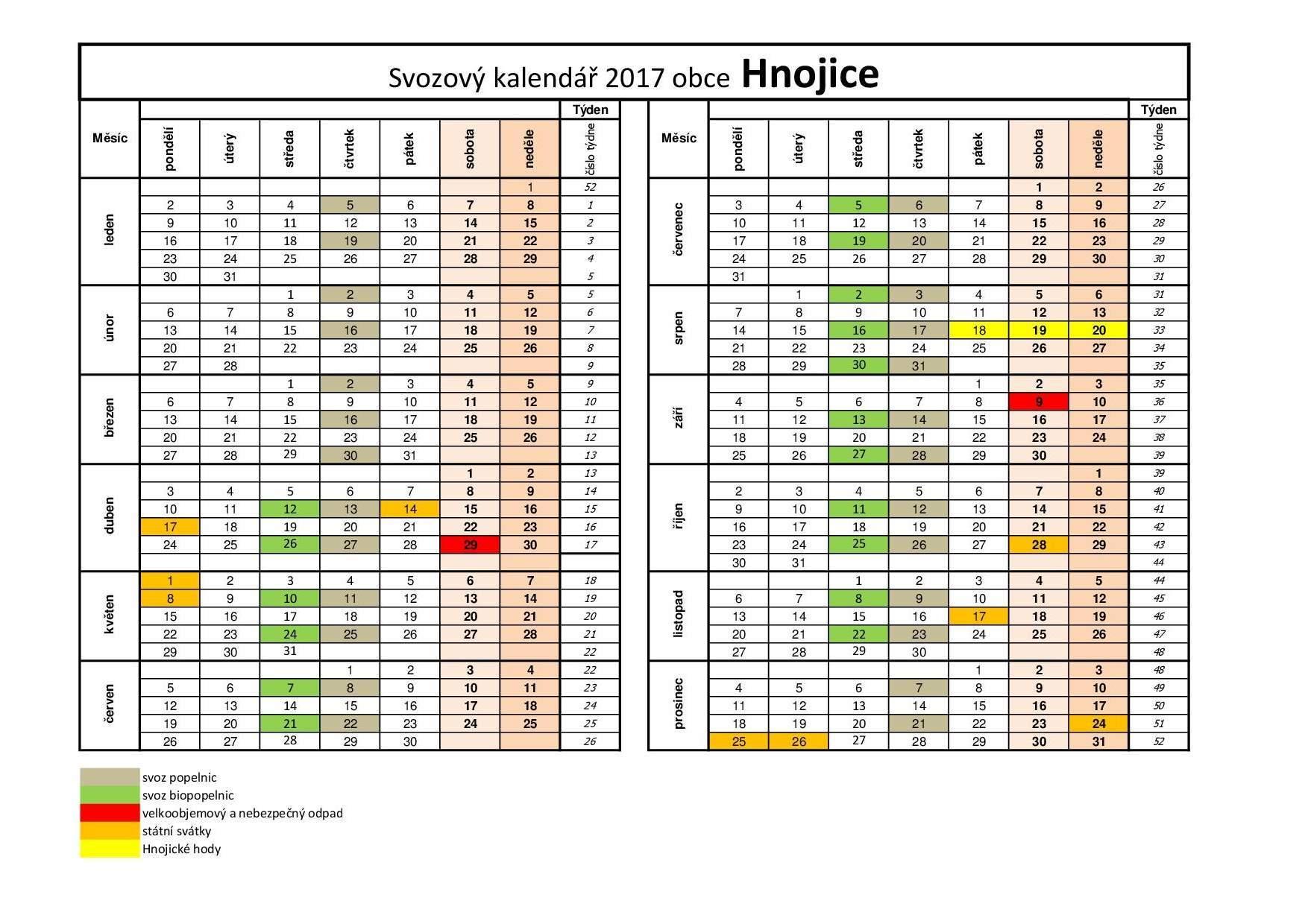Svozový kalendáø 2017