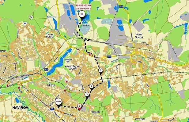 Mapa s polohou Vodní nádrže Adošov a vyznačenou trasou jízdy